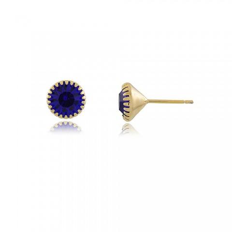 Brinco Moreno - banho de ouro amarelo - cristal azul