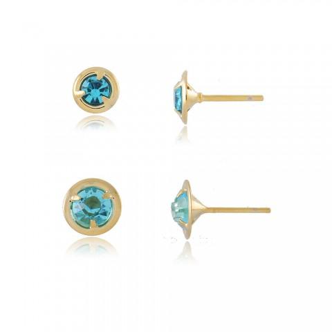 Dupla de Brinco Cauer - banho de ouro amarelo - cristal azul