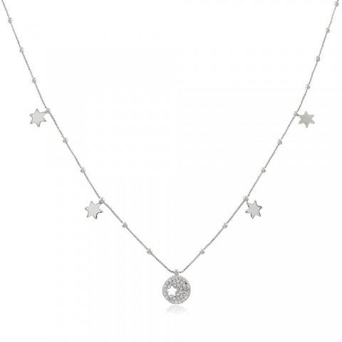 Colar Estrela Cold - banho de ouro branco - zircônia branca