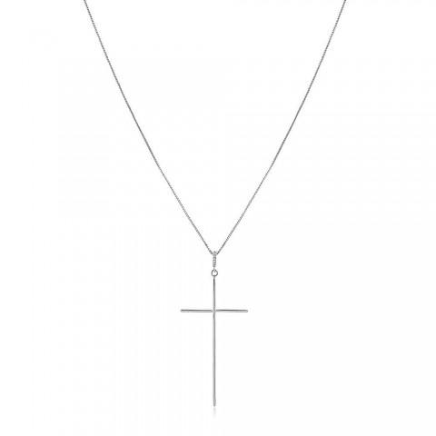 Colar  Crucifixo Leve Ajustável - banho de ouro branco - zircônia branca