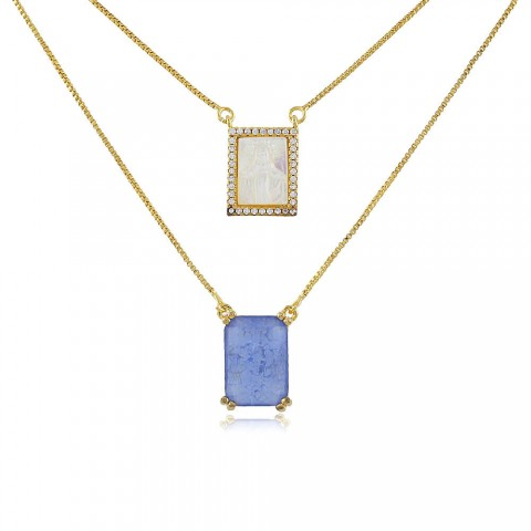 Colar Escapulário Azi - banho de ouro amarelo - madrepérola - cristal azul - zircônia branca