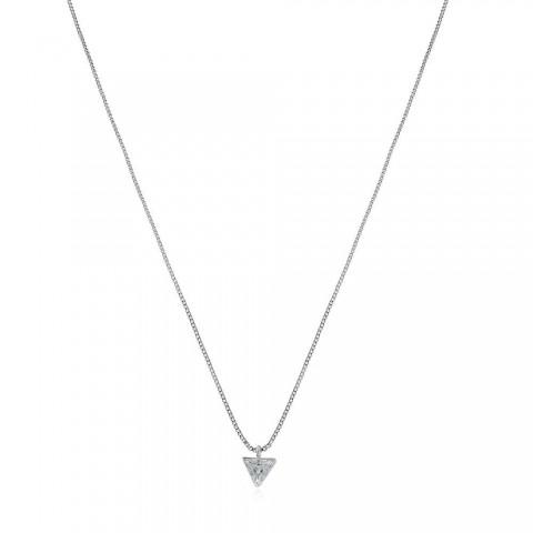 Colar Ponto de Luz Triangular - banho de ouro branco - zircônia branca