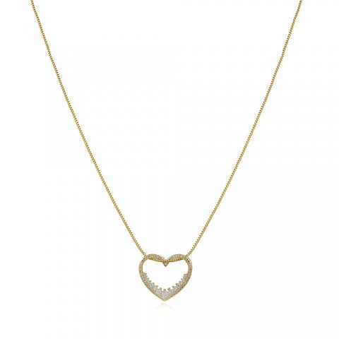 Colar Coração Zara - banho de ouro amarelo - zircônia  branca