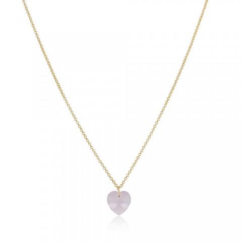 Colar Coração Mandril - banho de ouro amarelo - cristal rosa