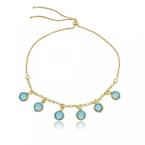 Pulseira Lima - banho de ouro amarelo - crsital azul