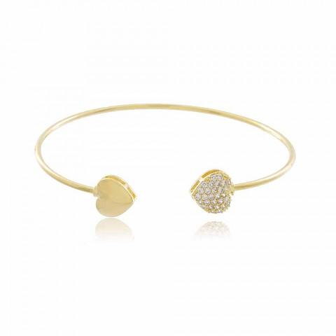 Pulseira Bracelete Coração Napier - banho de ouro amarelo - zircônia branca