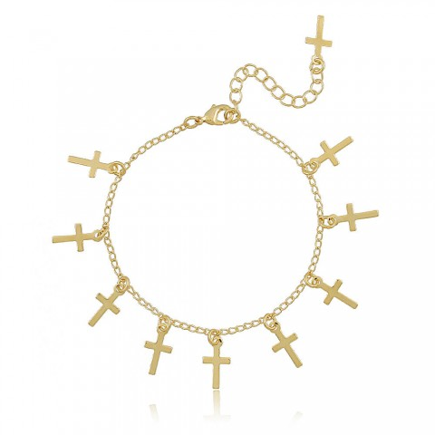 Pulseira Crucifixos Machados - banho de ouro amarelo