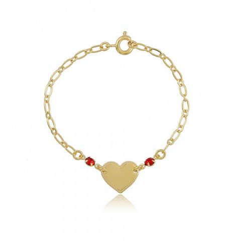 Pulseira Coração Terra (INFANTIL) - banho de ouro amarelo - strass vermelho