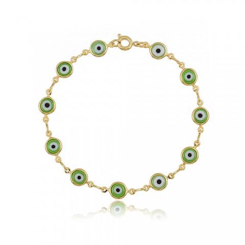Pulseira Olho Grego Colorida - banho de ouro amarelo - resina verde