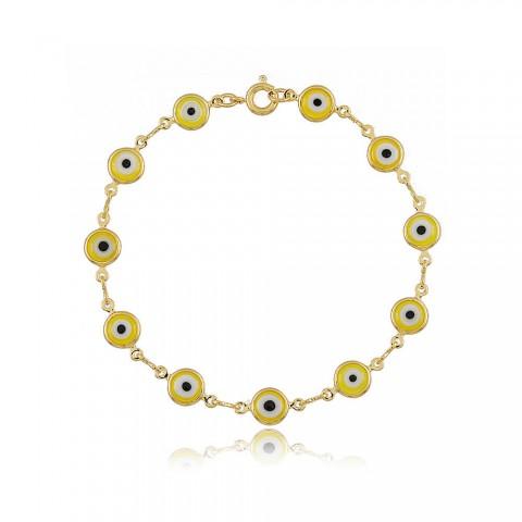 Pulseira Olho Grego Colorida - banho de ouro amarelo - resina amarela