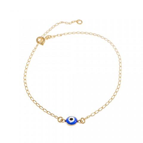 Tornozeleira olho grego - ouro amarelo
