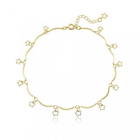 Tornozeleira Estrelas - banho de ouro amarelo