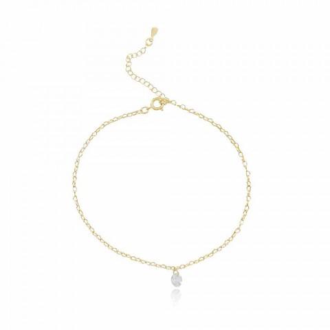 Tornozeleira Pine - banho de ouro amarelo - zircônia branca