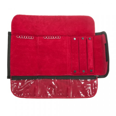 Mostruário pequeno, preto com veludo interno vermelho